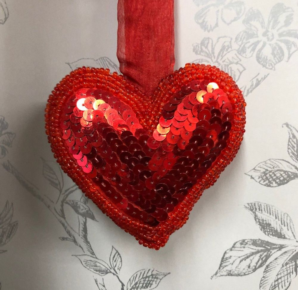 Red Beaded & Sequin Hanging Heart Home Decoration